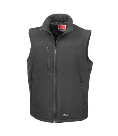 Result Mens Softshell Bodywarmer Breathable Weatherproof Jacket (Black/Black) - UTBC859