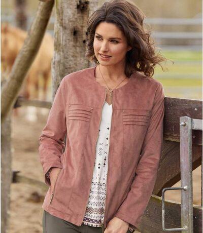 Women's Pink Faux-Suede Jacket