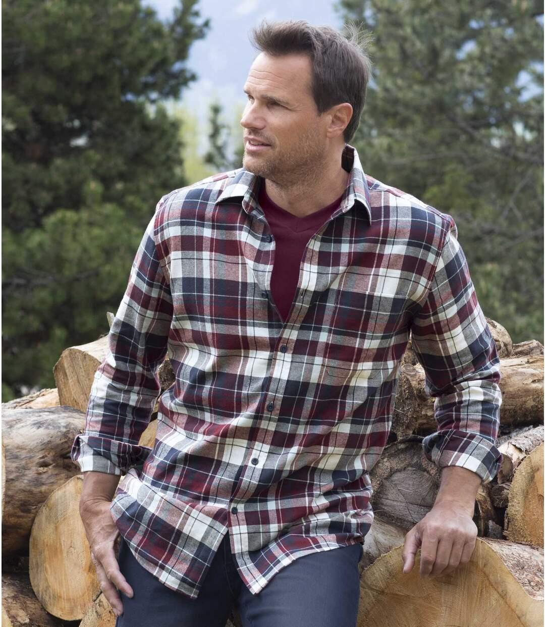 Men's Autumnal Flannel Shirt - Blue Plum
