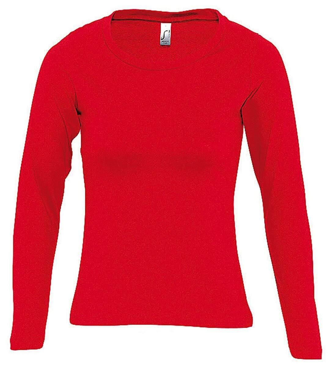 Dégagement T-shirt manches longues FEMME 11425 rouge dsf.d455nksdKLFHG