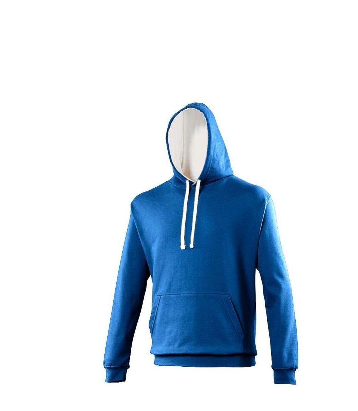 Sweat à capuche contrastée unisexe - JH003 - bleu roi et blanc