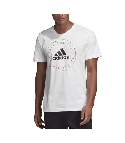 T-shirt Blanc Homme Adidas Emblème