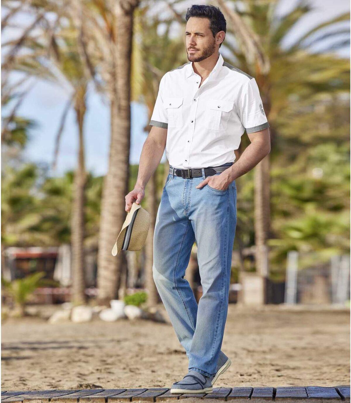 Stretch-Jeans in ausgewaschenem Blau Atlas For Men