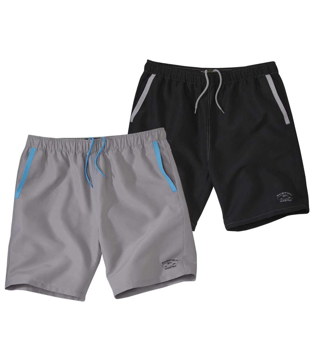 Pack of 2 Men's Microfibre Surf Shorts - Black Grey