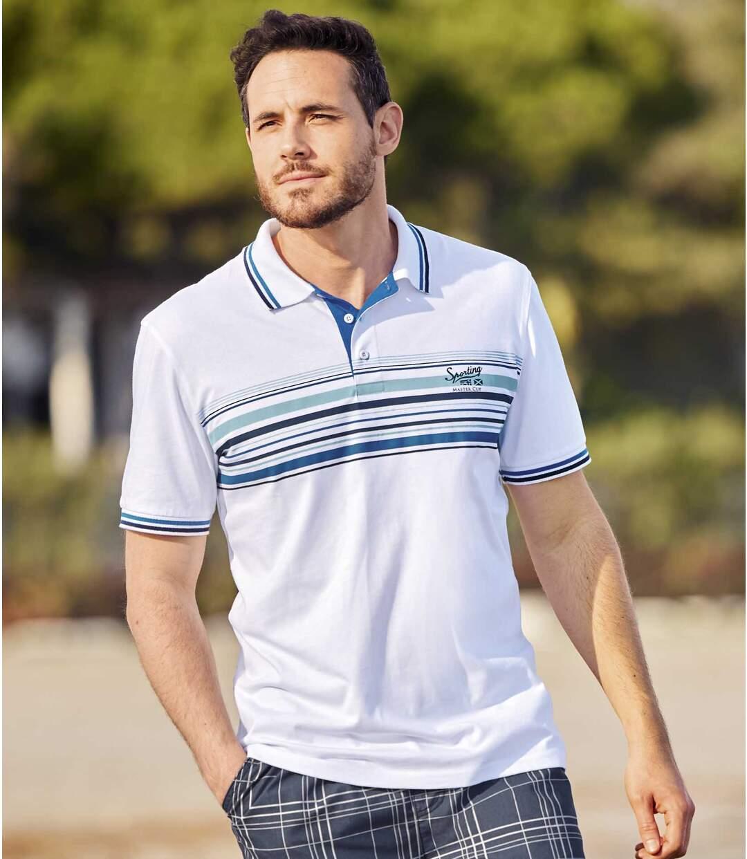 Pack of 2 Men's Striped Polo Shirts - Navy White Atlas For Men