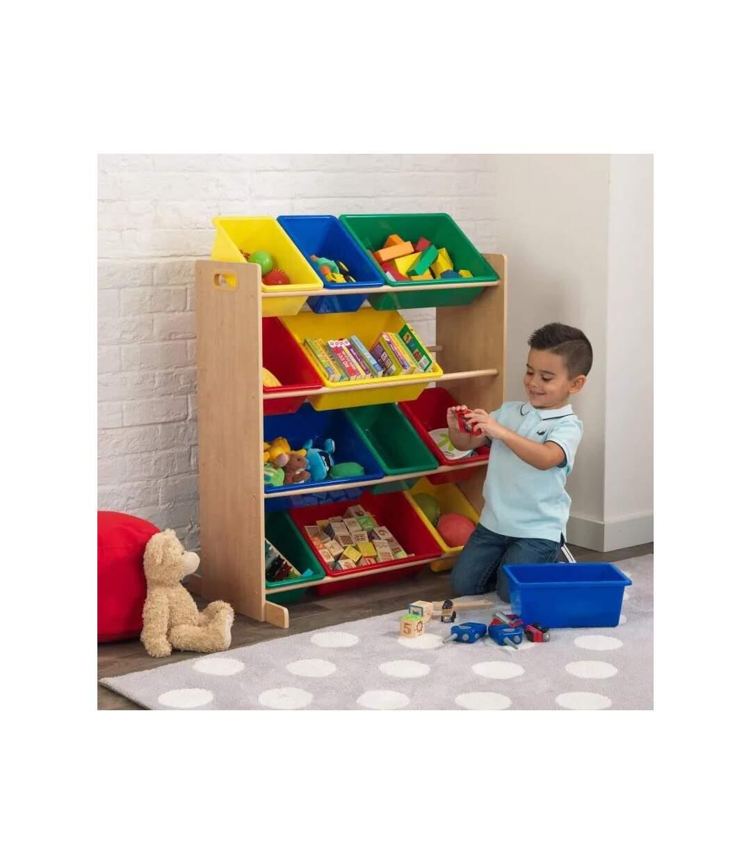 Meuble de rangement en bois 12 bacs pour enfant