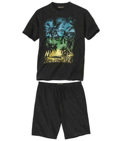 Men's Graphic Print Pyjama Short Set - Black