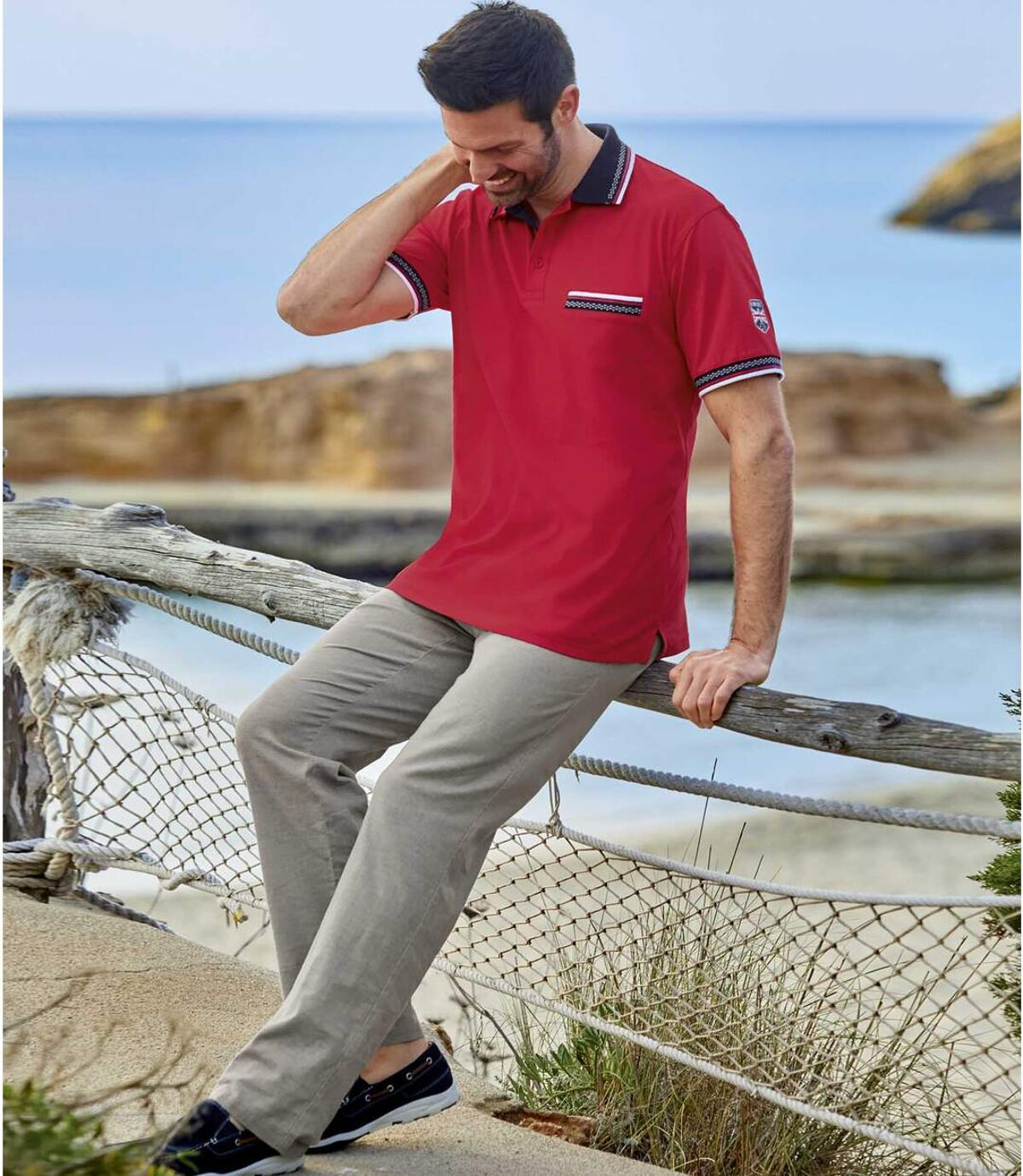 Stretch broek van linnen en katoen Atlas For Men
