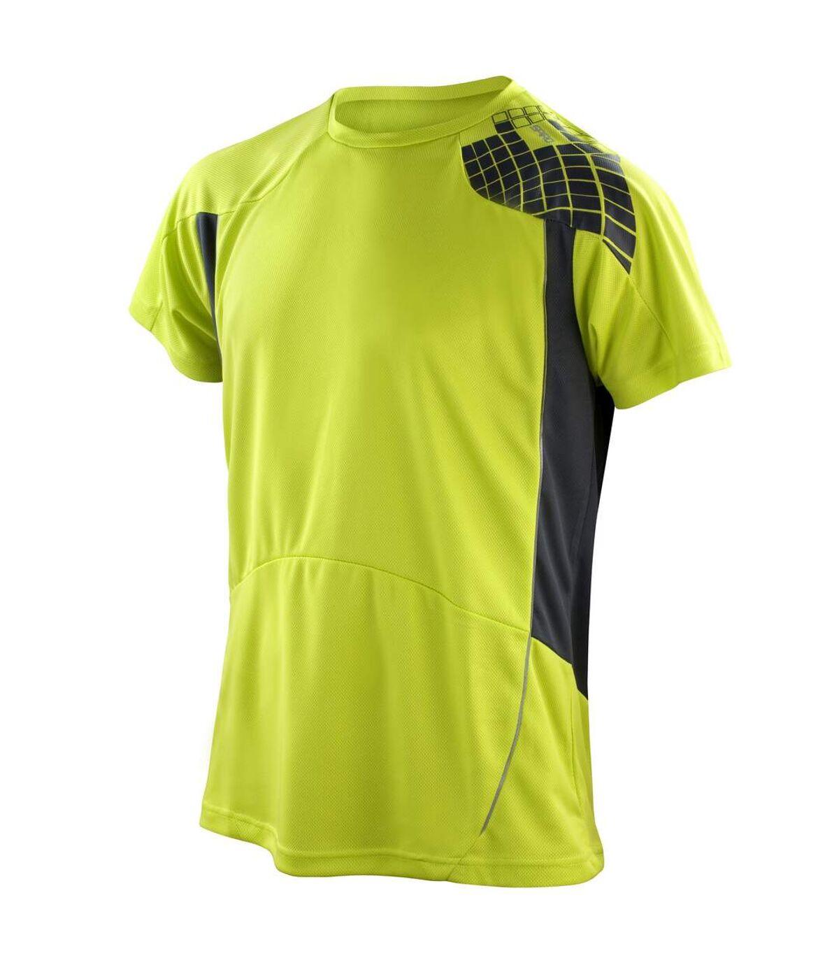 Spiro Mens Performance Sports Lightweight Athletic Training T-Shirt (Black/Grey) - UTRW1468
