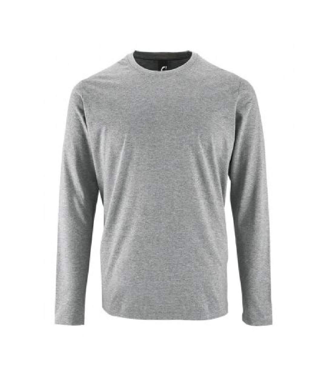 SOLS Mens Imperial Long Sleeve T-Shirt (Grey Marl) - UTPC2905