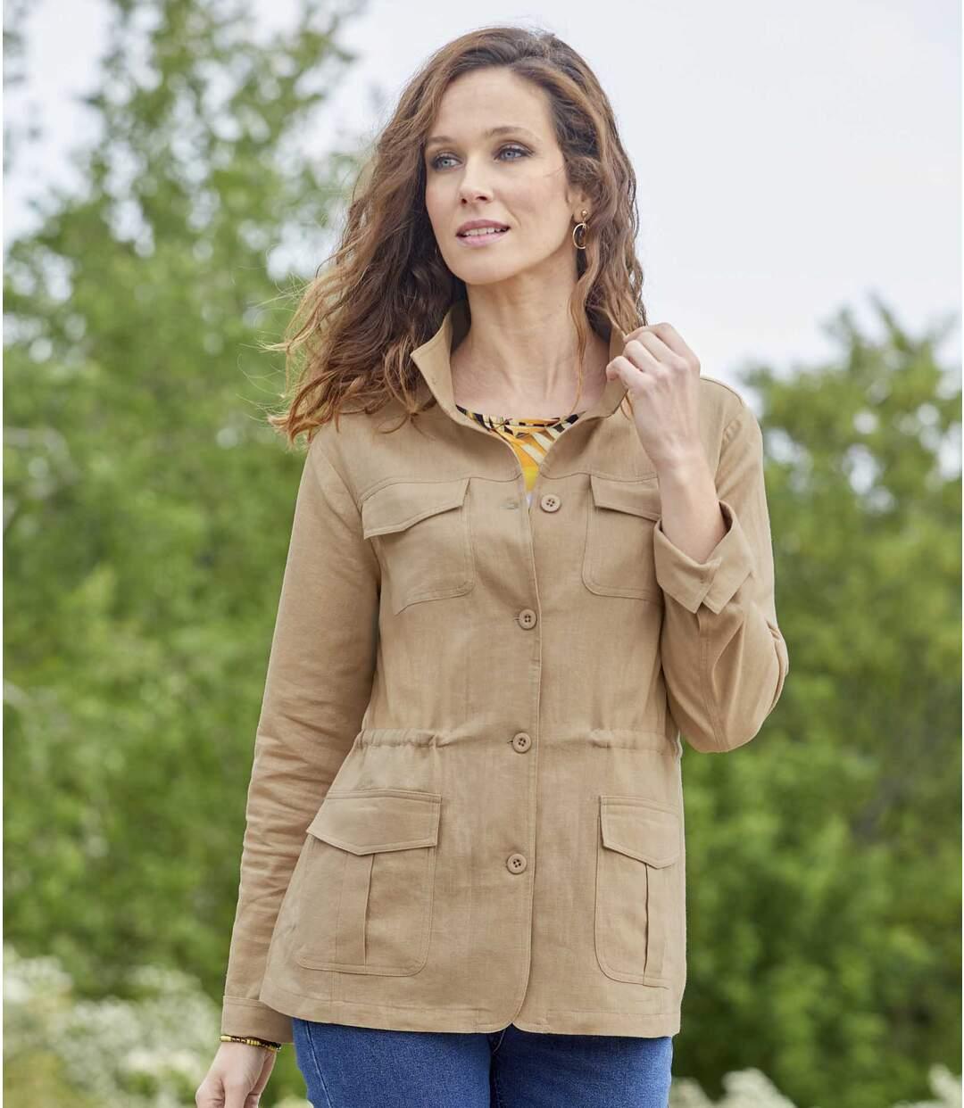 Jasje van linnen en viscose in safari-stijl