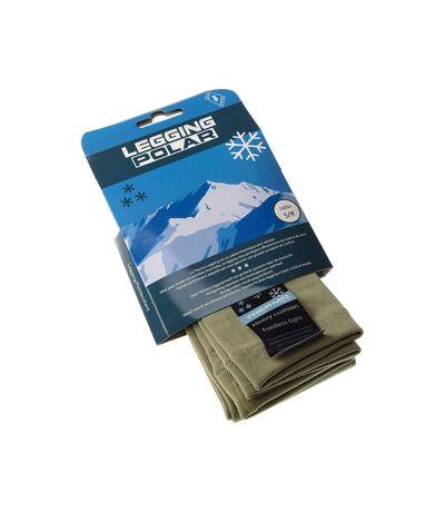 Legging chaud long - 1 paire - Unis simple - Ultra opaque - Mat - Gousset polyamide - Kaki - Thermo Polar