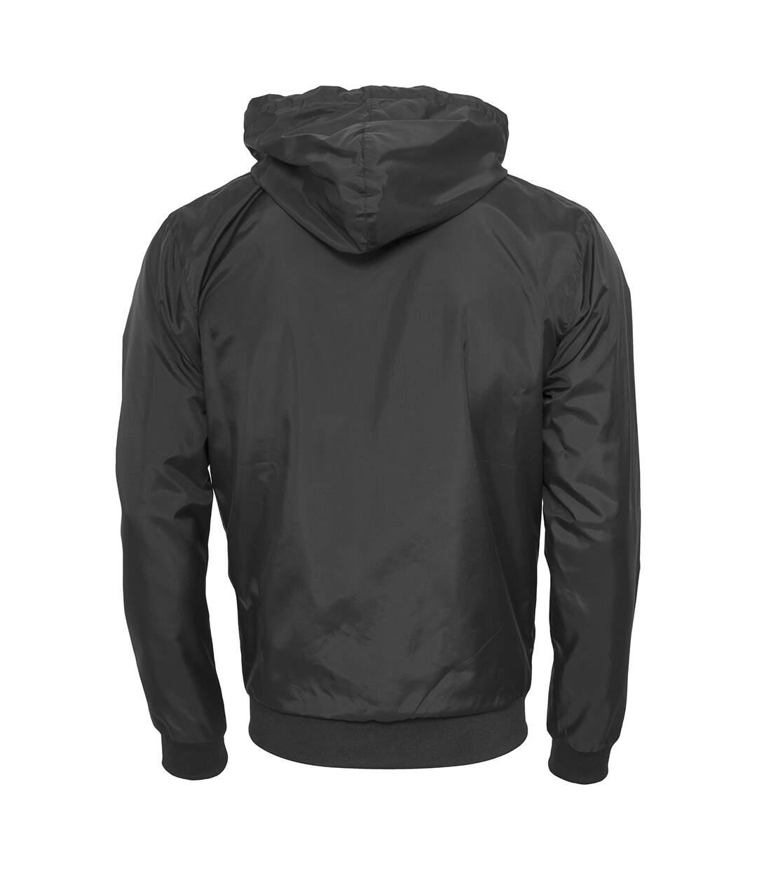 Build Your Brand Mens Zip Up Wind Runner Jacket (Black/White) - UTRW5676