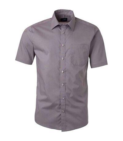 chemise popeline manches courtes - JN680 - homme - gris acier