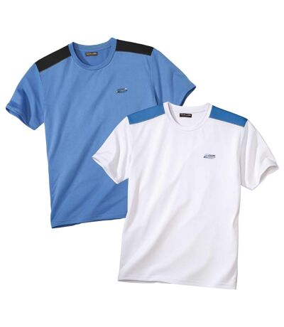 Pack of 2 Men's Sporty T-Shirts - White Blue