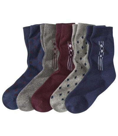 Pack of 5 Pairs of Men's Patterned Socks - Grey Navy Burgundy