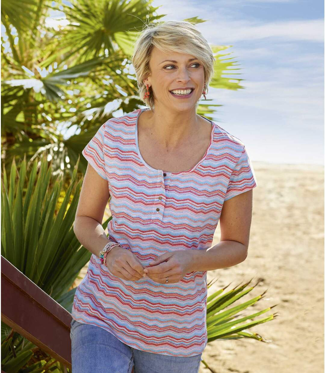 Women's Zigzag Print T-Shirt - Multi-coloured