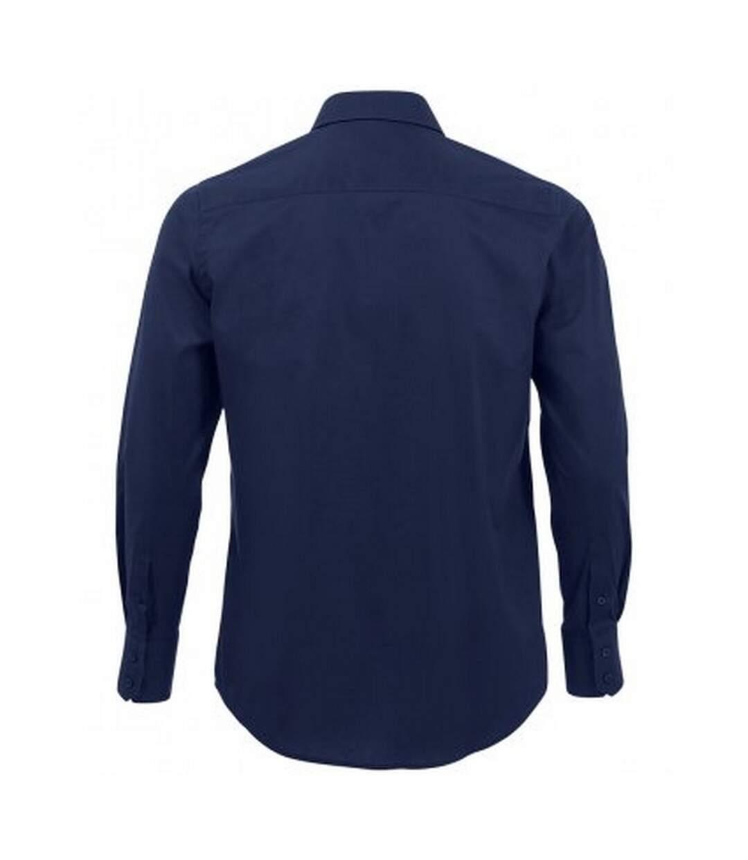SOLS Mens Brighton Long Sleeve Fitted Work Shirt (Dark Blue) - UTPC337