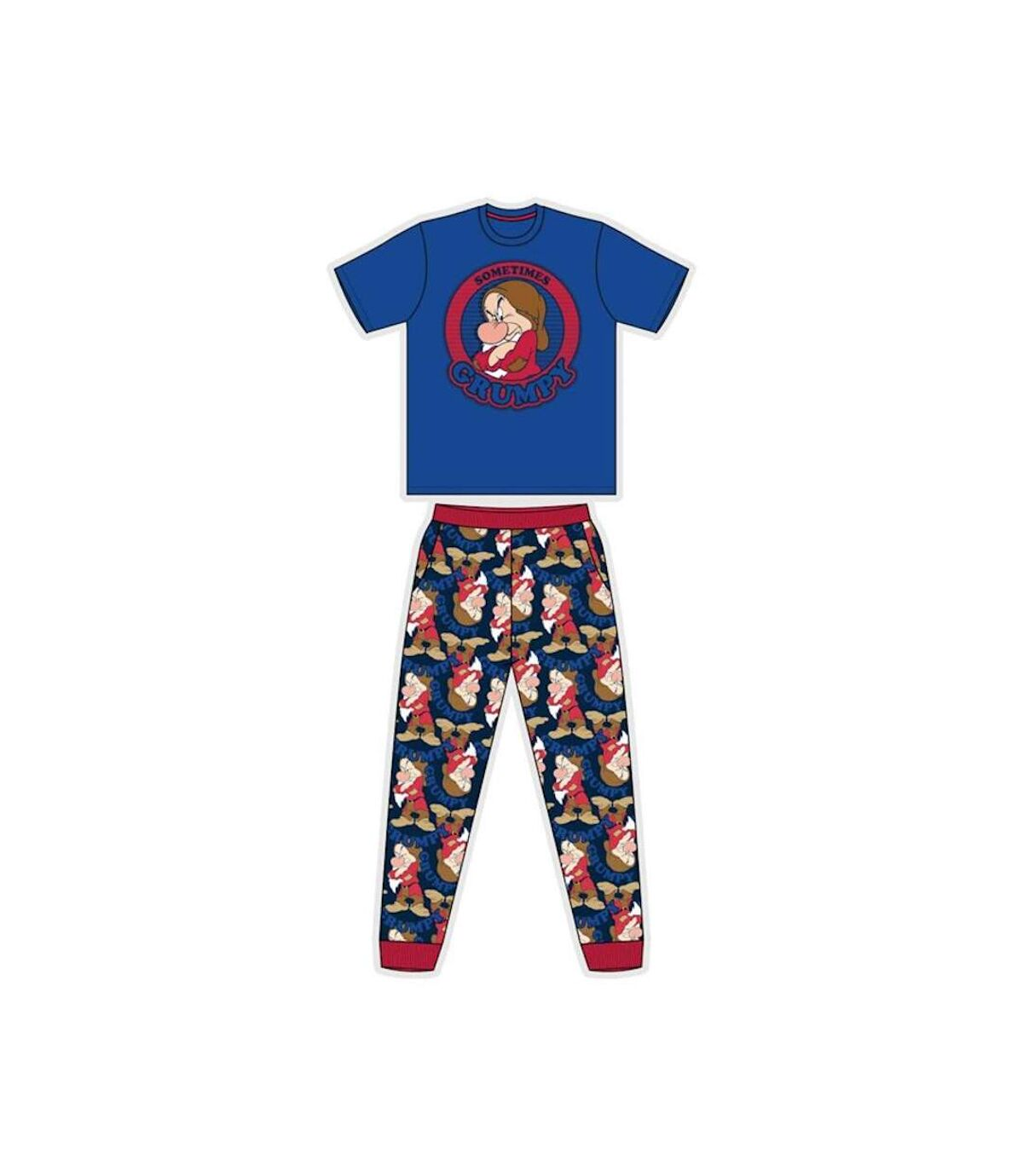 Snow White Mens Grumpy Short-Sleeved Pyjamas (Navy/Red) - UTUT619