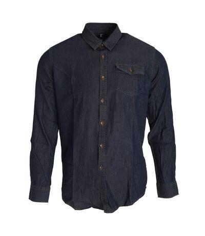 Premier Mens Jeans Stitch Long Sleeve Denim Shirt (Black Denim) - UTRW5593