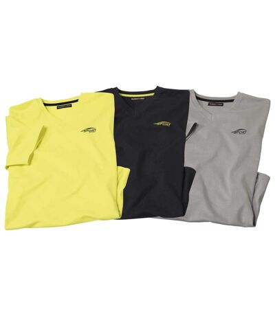 Pack of 3 Men's Sporty T-Shirts - Yellow Black Grey