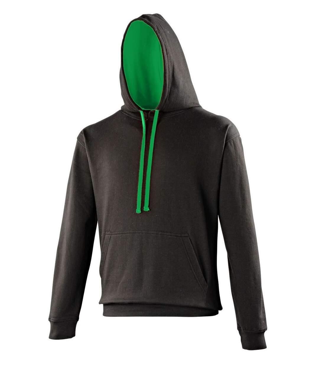 Sweat à capuche contrastée unisexe - JH003 - noir et vert kelly