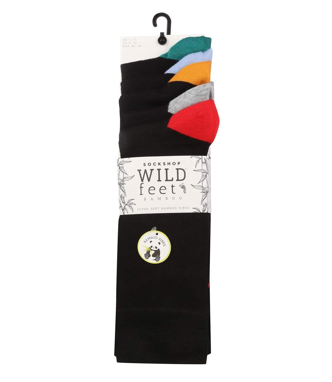 Wild Feet - 5 Pk Mens Bamboo Socks   Coloured Heel & Toe