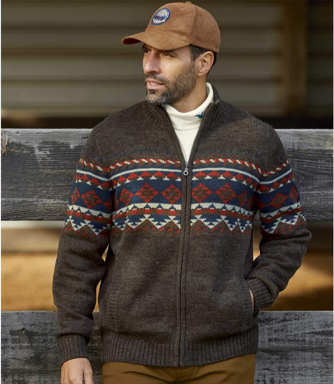 Pletený sveter na zips Navajo