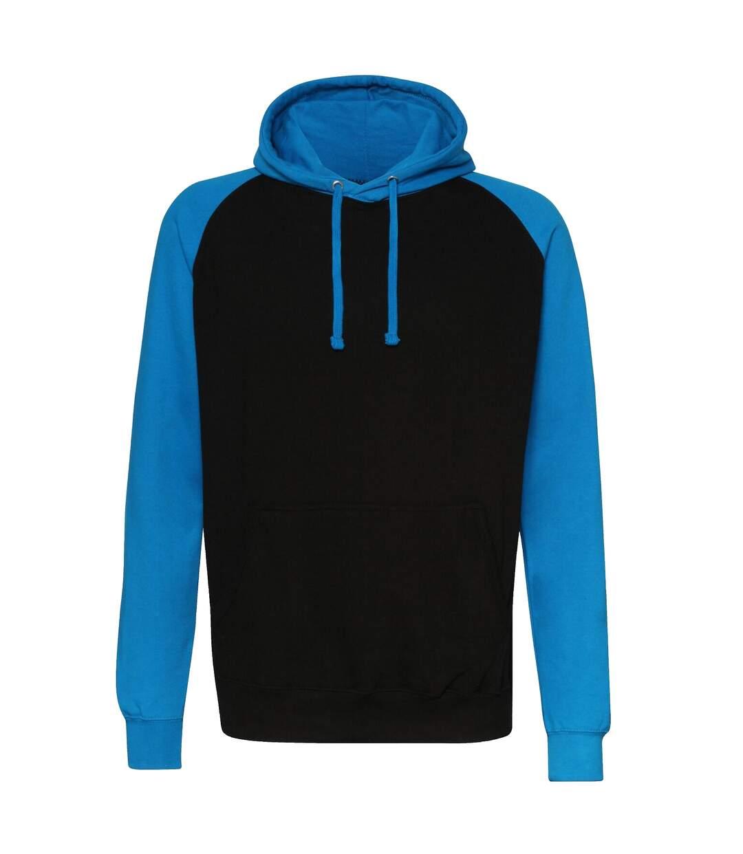 Awdis Just Hoods Adults Unisex Two Tone Hooded Baseball Sweatshirt/Hoodie (Charcoal/Jet Black) - UTRW3928