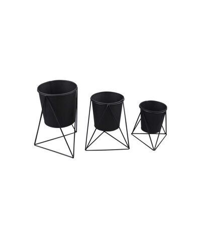 Paris Prix - Lot De 3 Caches-pots graphic Ethnic 25cm Noir
