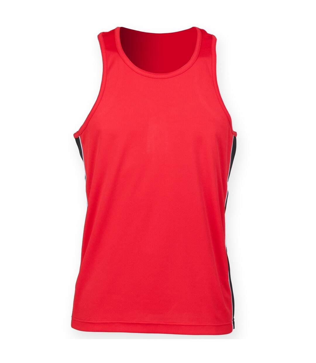 Finden & Hales Mens Performance Panel Moisture Wicking Sports Vest Top (Black/Red/White) - UTRW4688