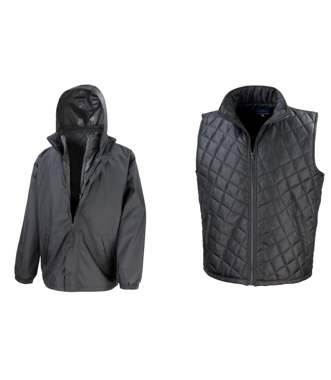 Result Mens Core 3-in-1 Jacket With Quilted Bodywarmer Jacket (Black) - UTBC908