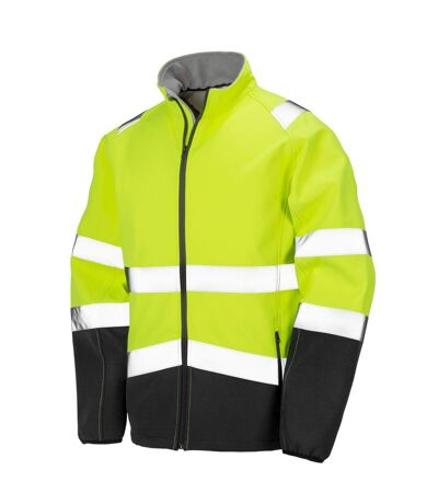 Result Safeguard Mens Printable Safety Softshell Jacket (Fluorescent Yellow/Black) - UTBC4133