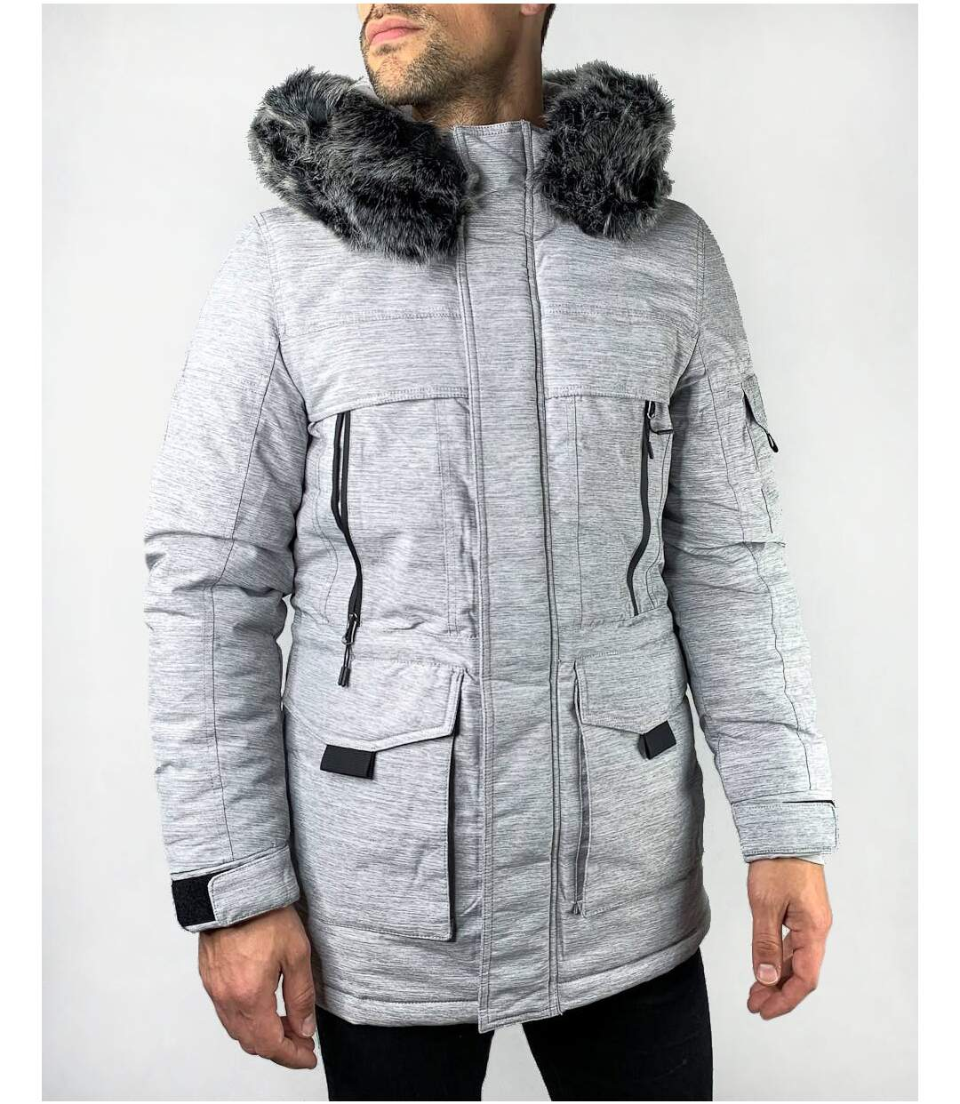 Veste Parka longue gris chiné à capuche fausse fourrure amovible pour homme