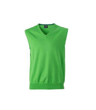 James And Nicholson Mens V-Neck Sweater Vest (Green) - UTFU770
