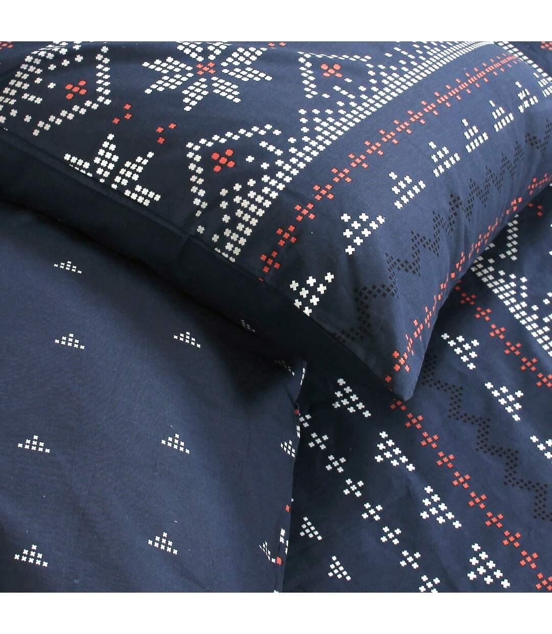 Parure de lit 260x240 cm 100% coton bio NEIGE Bleu Jean 3 pièces