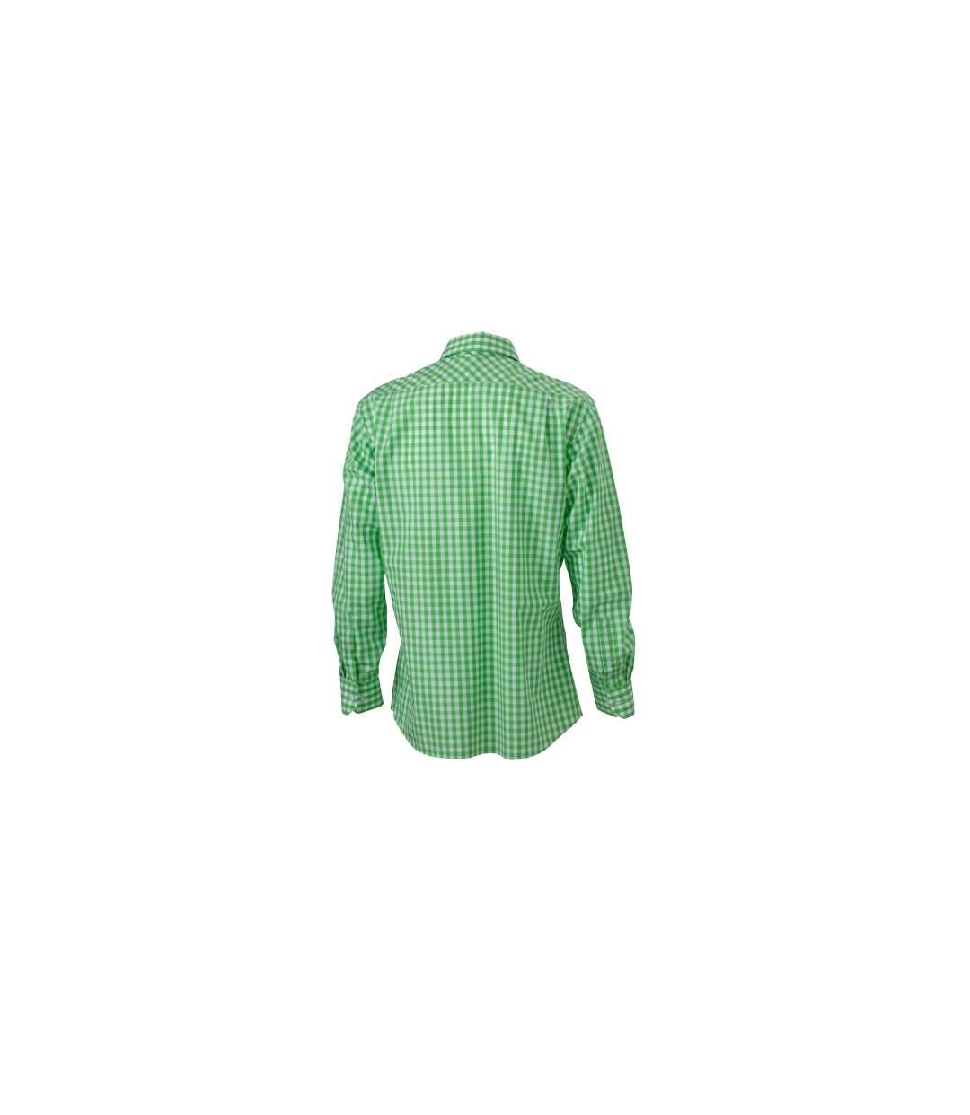 chemise manches longues carreaux vichy HOMME JN617 - vert