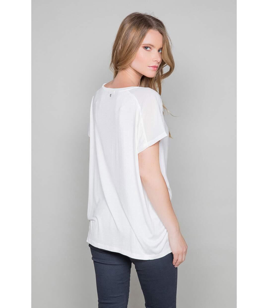 T-shirt bi-matière AMY Off White