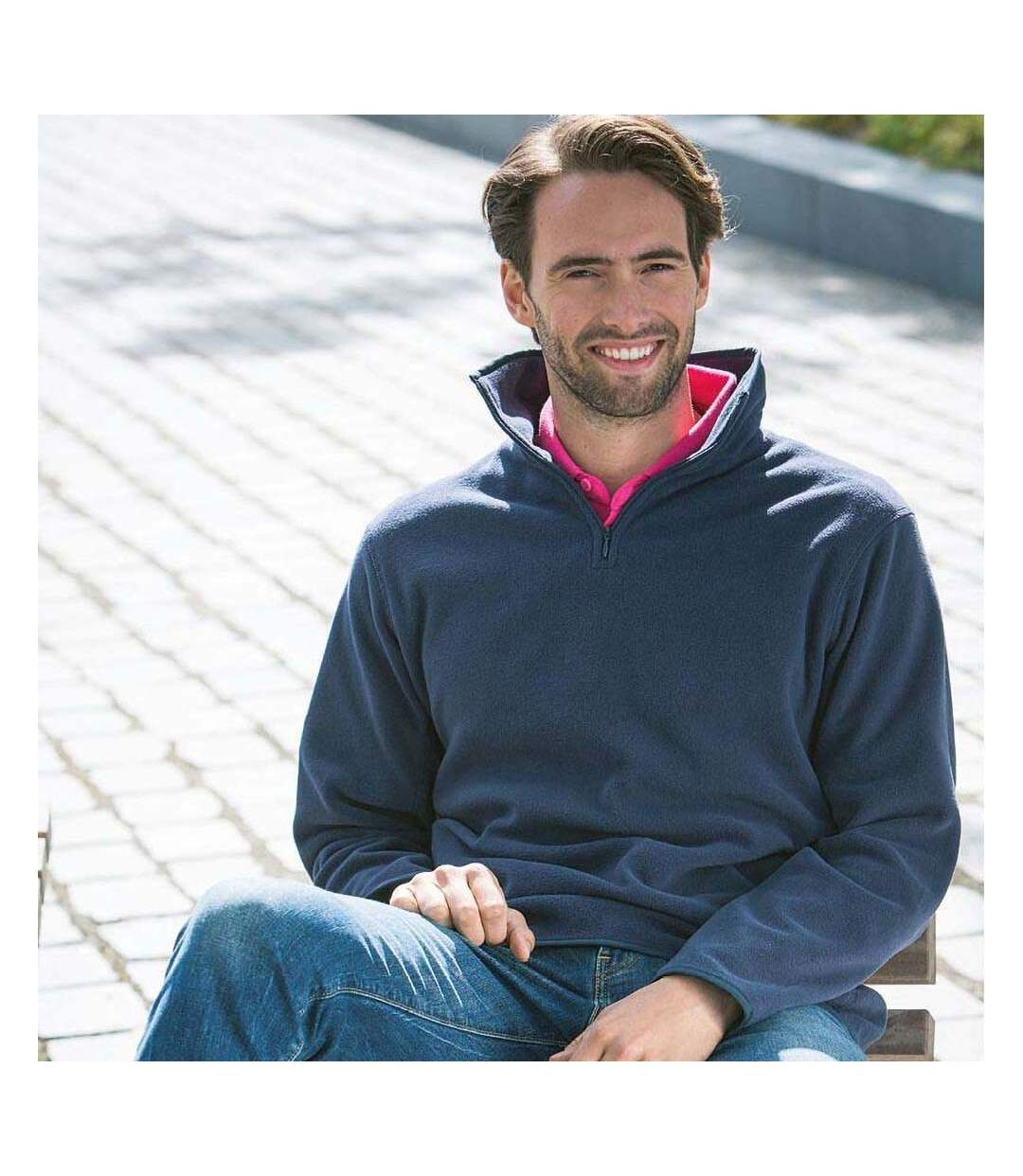 Henbury Mens 1/4 Zip Lightweight Inner Fleece Top (Navy) - UTRW680