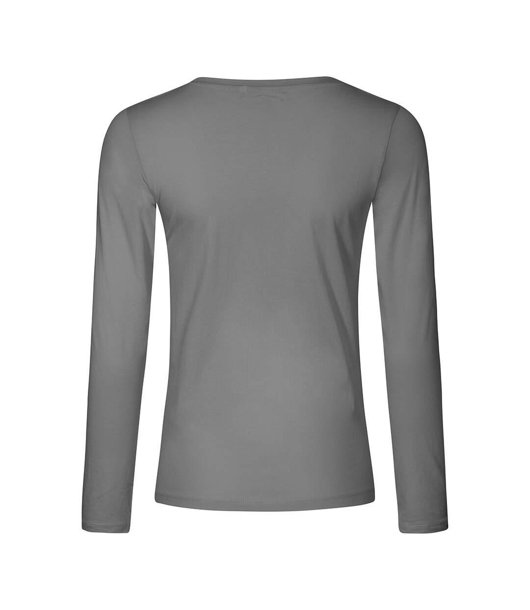 T-shirt manches longues col V Femmes