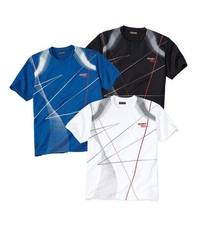 Pack of 3 Men's Sporty Print T-Shirts - Black White Blue