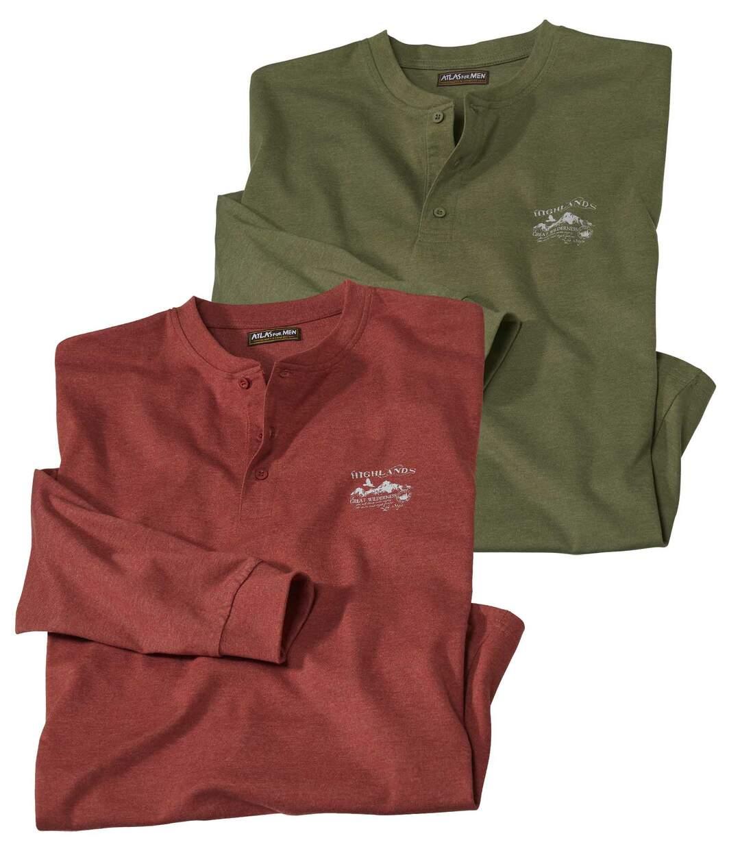 Pack of 2 Men's CasualButton-Neck Tops - Khaki Rust