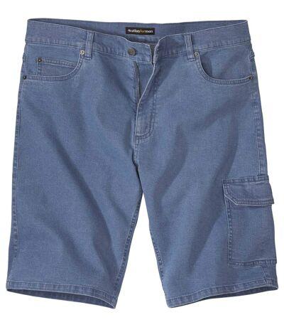 Jeansowe bermudy-bojówki ze stretchem