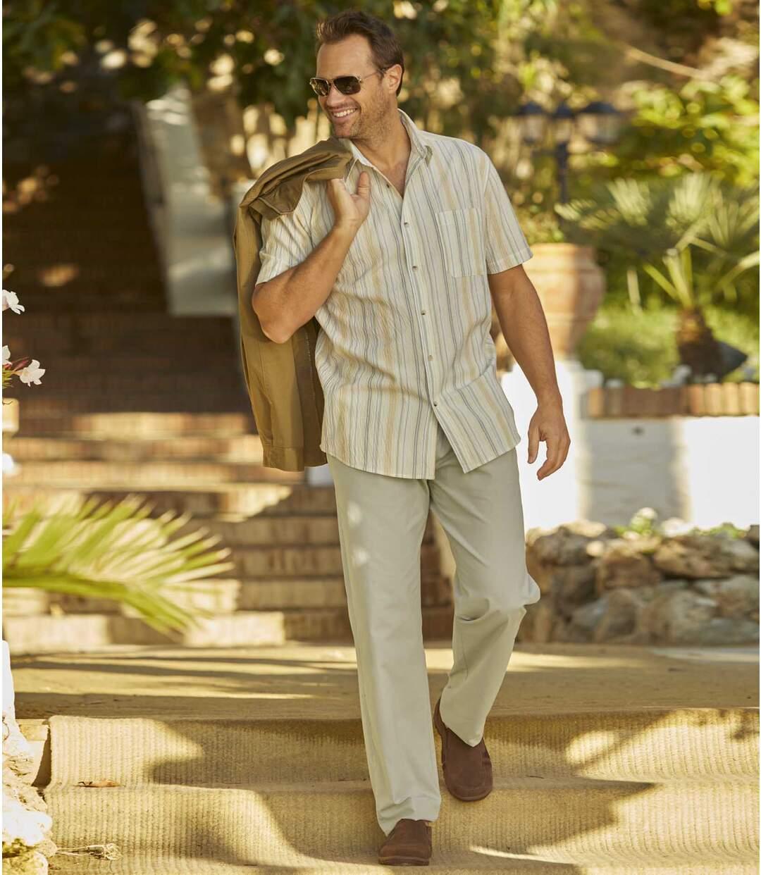 Men's Beige Summer Leisure Trousers