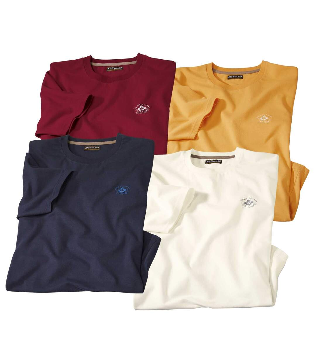 Pack of 4 Men's Crew Neck T-Shirts - Red Yellow Navy White