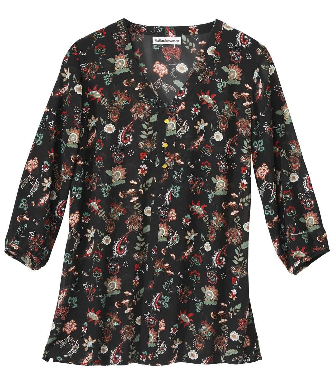 Krepp blúz divatos mintával