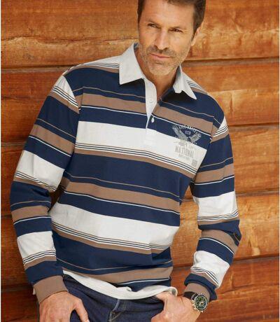 Men's Eagle Print Polo Shirt - Navy Camel Ecru