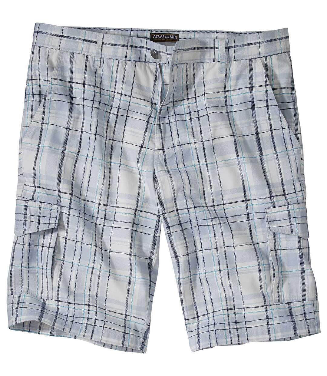 Men's Grey & Blue Checked Cargo Shorts