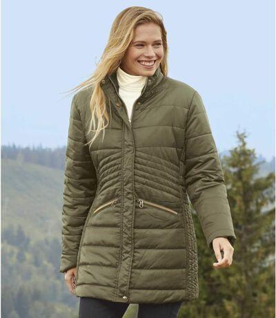 Women's Khaki Longline Quilted Coat