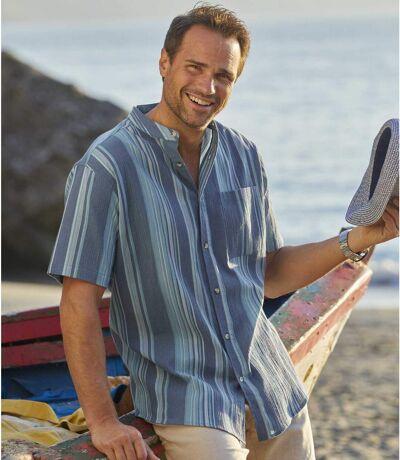 Krepová košile Středozemí se stojáčkovým límcem